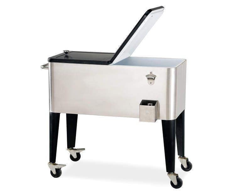 Rolling Ice Chest Cooler Stainless Steel Wheels Cart Pool Deck Can