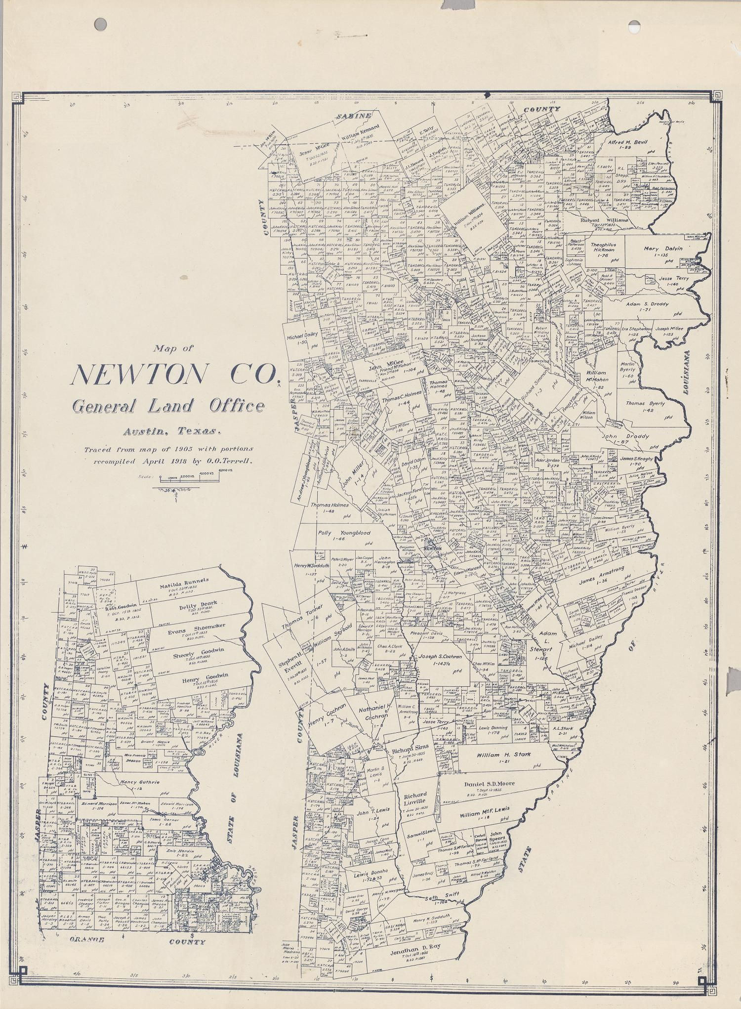 Blue line print of survey map of Newton County Texas showing