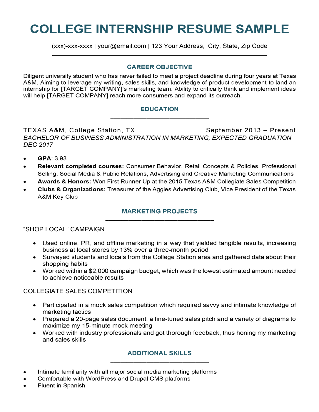 College Student Resume Sample & Writing Tips Resume