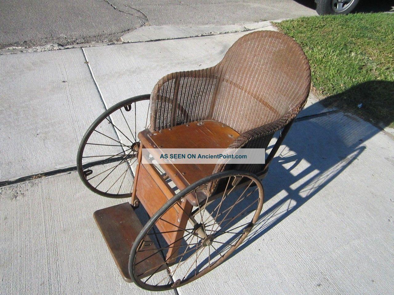 Vintage Gendron 3 Wheel Wheelchair Antique Wood & Wicker Wheelchair - Vintage Gendron 3 Wheel Wheelchair Antique Wood & Wicker