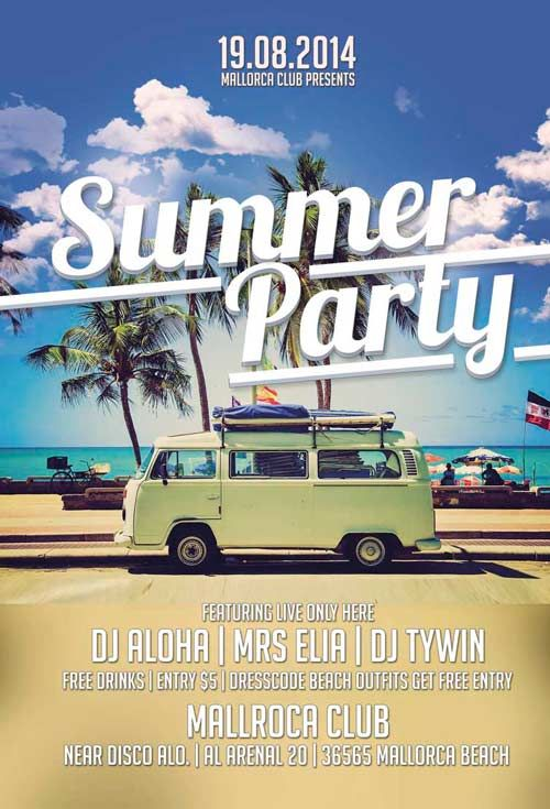 Summer Party Free Flyer Template - http\/\/freepsdflyer\/summer - summer flyer template