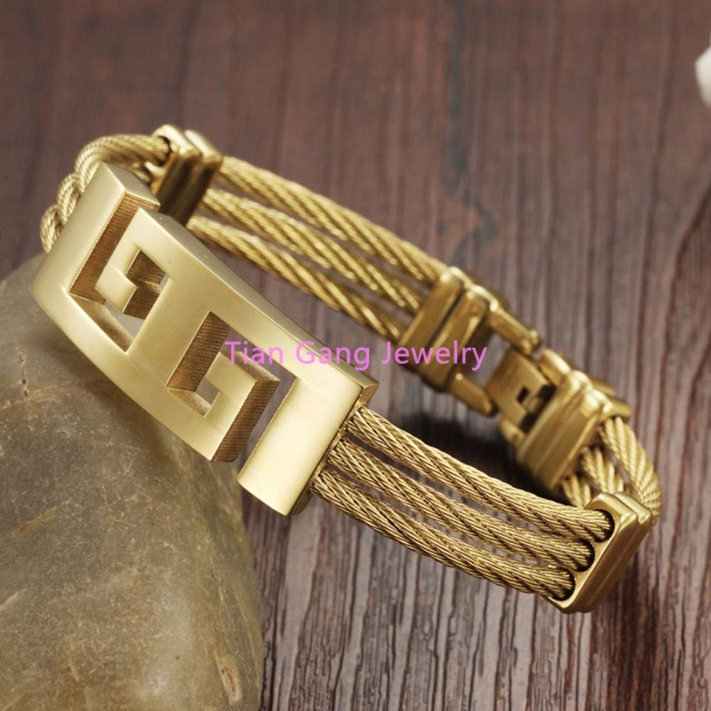 Charming unisex l stainless steel trendy wristband cable wire