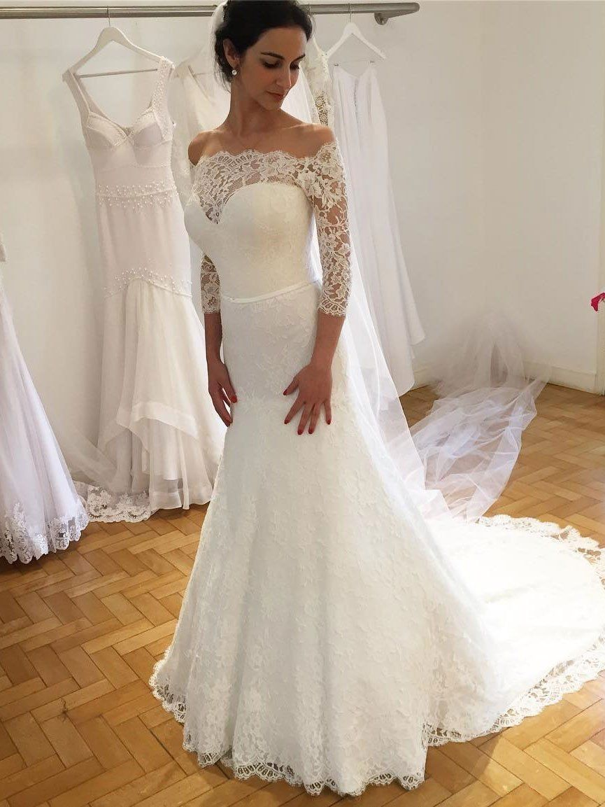 4eab4ac62b6 BohoProm Wedding Dresses Mermaid Off-Shoulder Sweep Train Lace Wedding  Dresses With 3 4 Sleeves SWD036