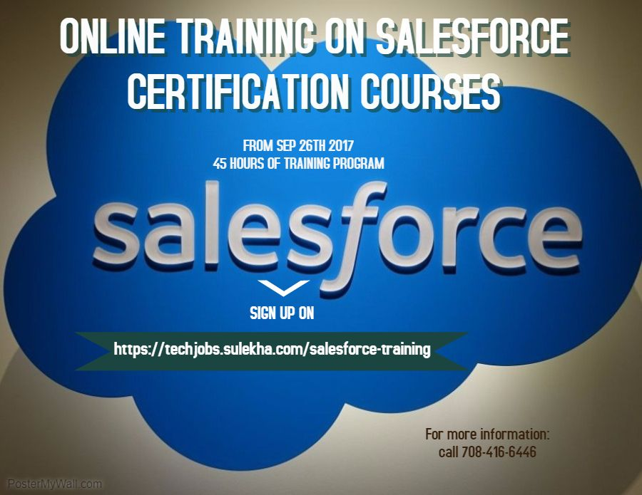 Online Training On Salesforce Certification Courses From 26 Sep17