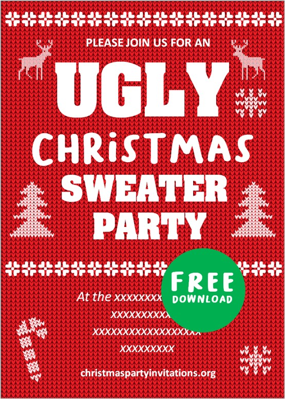 Pin On Free Ugly Christmas Sweater Invitations Templates