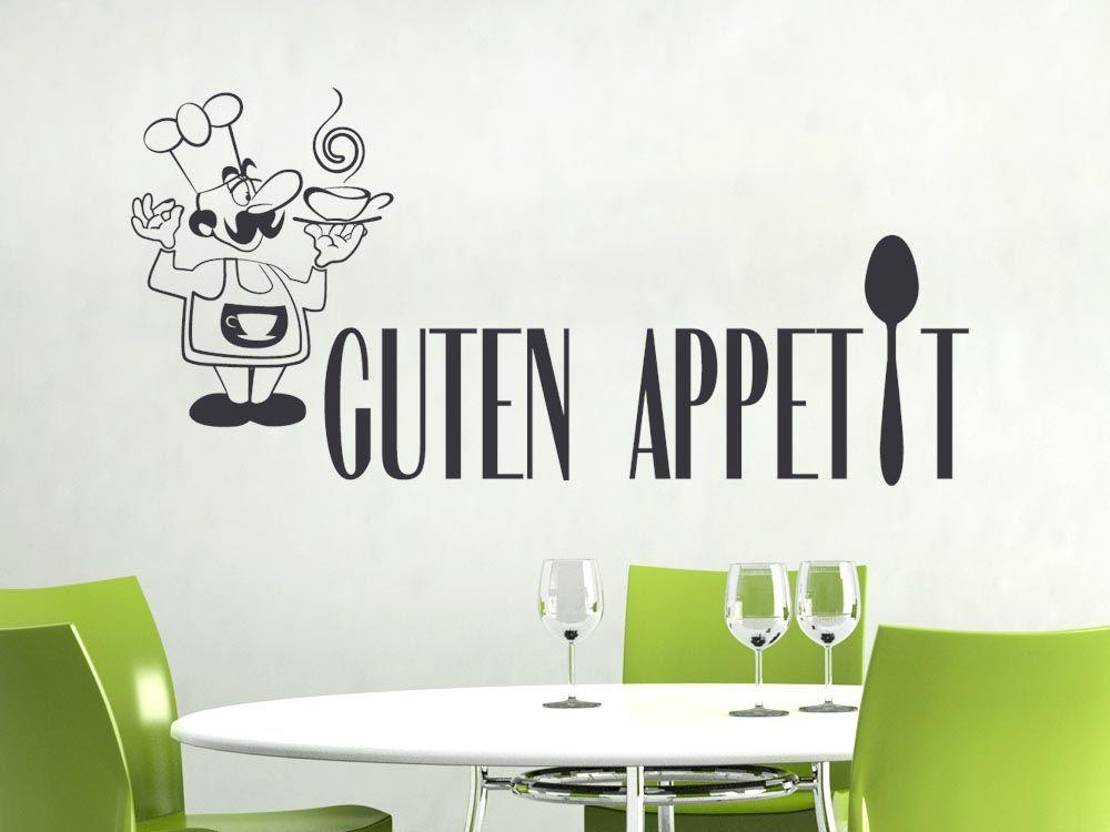 Wandtattoo Spruch Guten Appetit mit einem Koch | Wanddeko für Küche ...