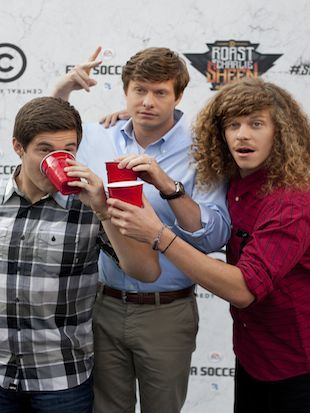 "The three stars of Comedy Central's ""Workaholics"" (Dan Krauss/AP)"