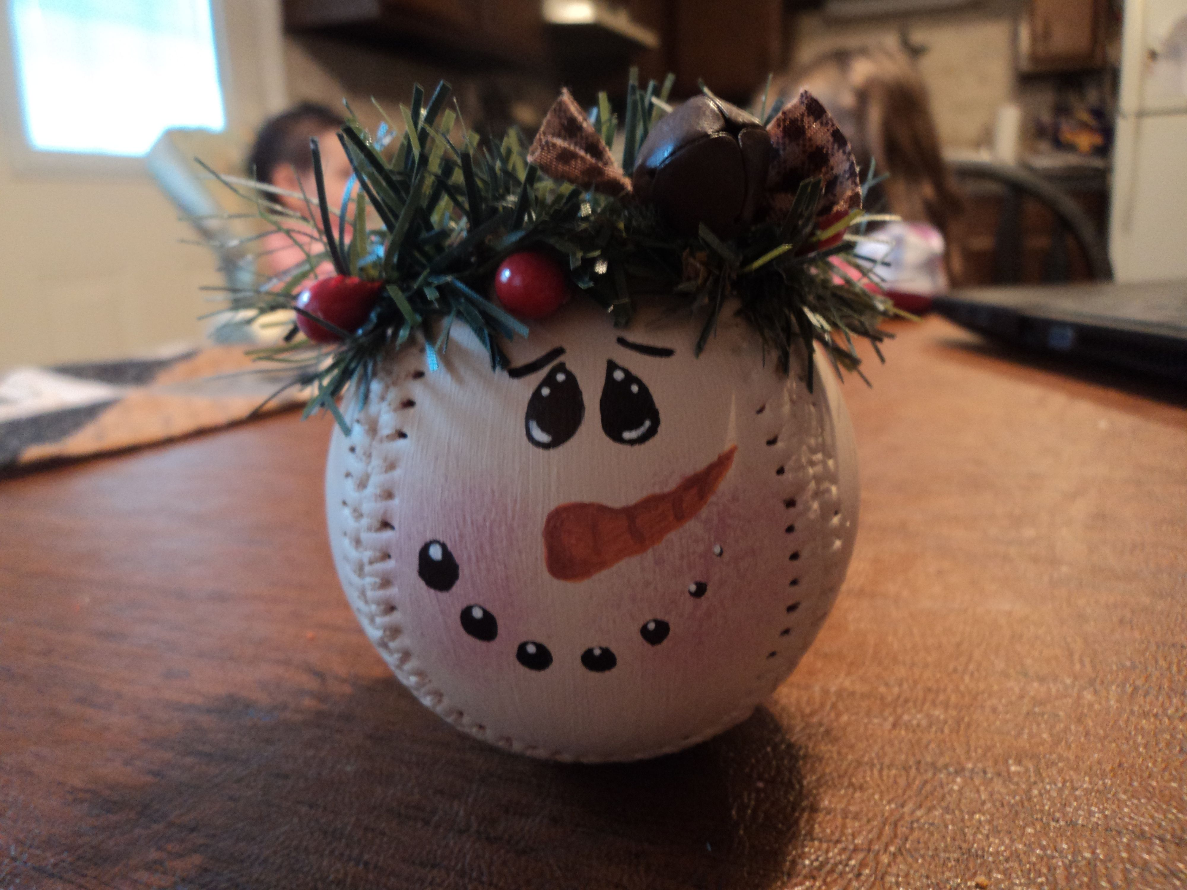 Item 60 Baseball Snowman Ornament 5 00 Christmas Crafts Decorations Photo Christmas Ornaments Christmas Crafts