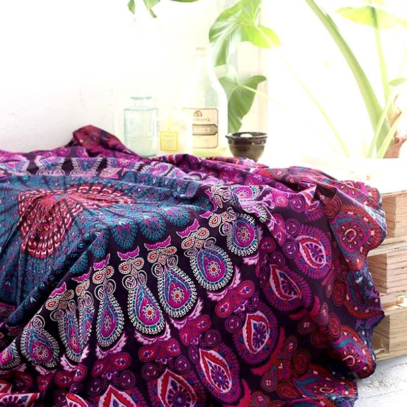 Style a boho inspired room with this stunning handmade purple mandala throw.