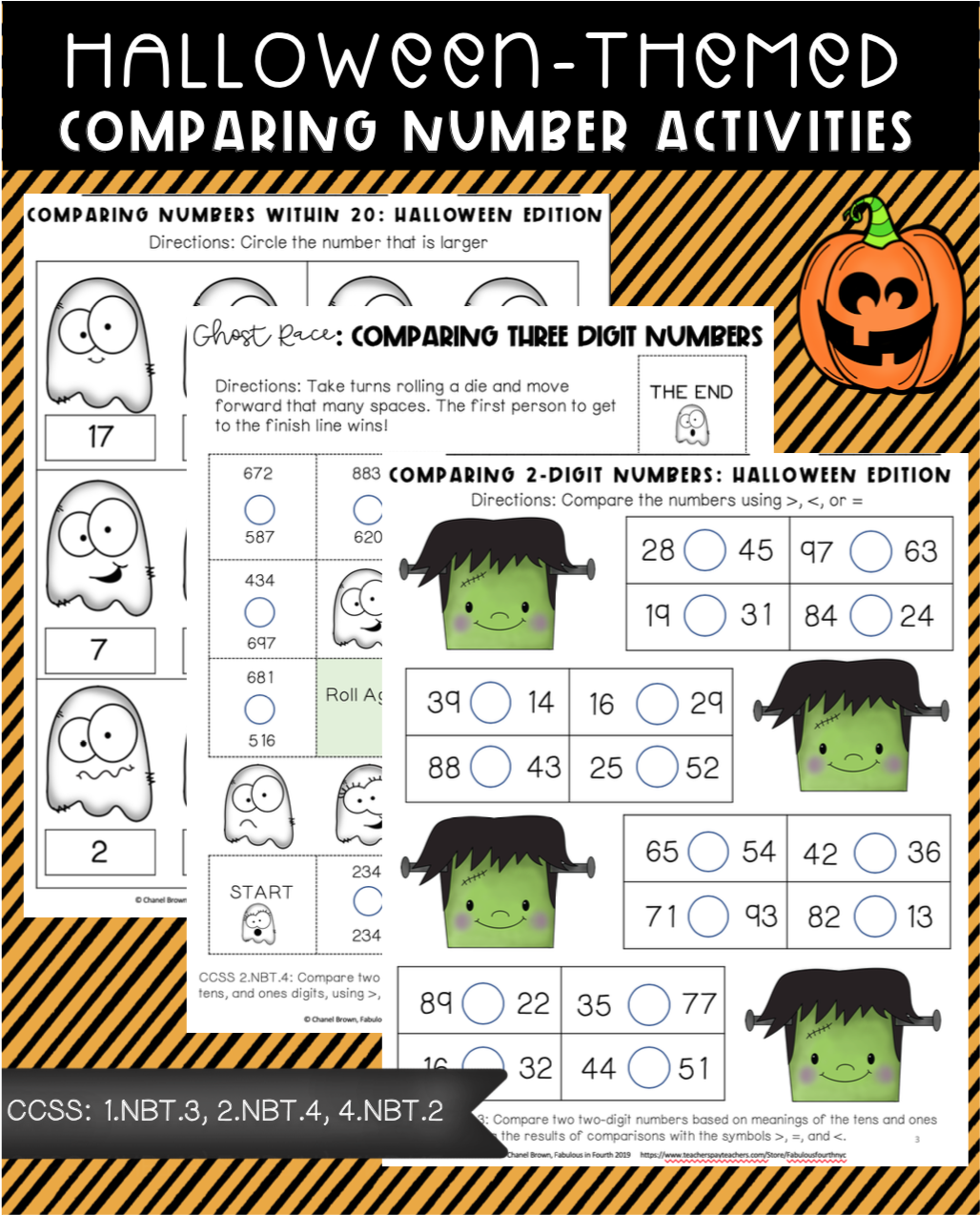 Halloween Themed Comparing Numbers Activities
