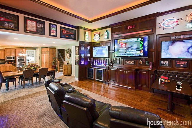 Tvs complete this sports-themed room   Home Theaters ...