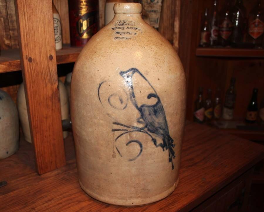 J A Langlais Libraire Quebec Antique Crock Quebec Primitive Jug Bird Antiquite Quebec