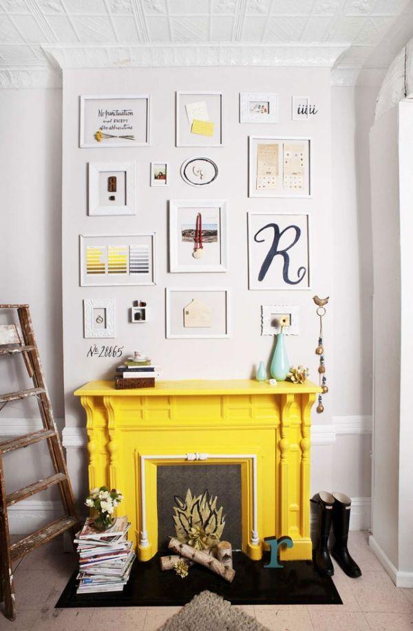 Unbenutzter Kamin Unechte Feuerstelle Gelbe Farbe. Wohnzimmer ...