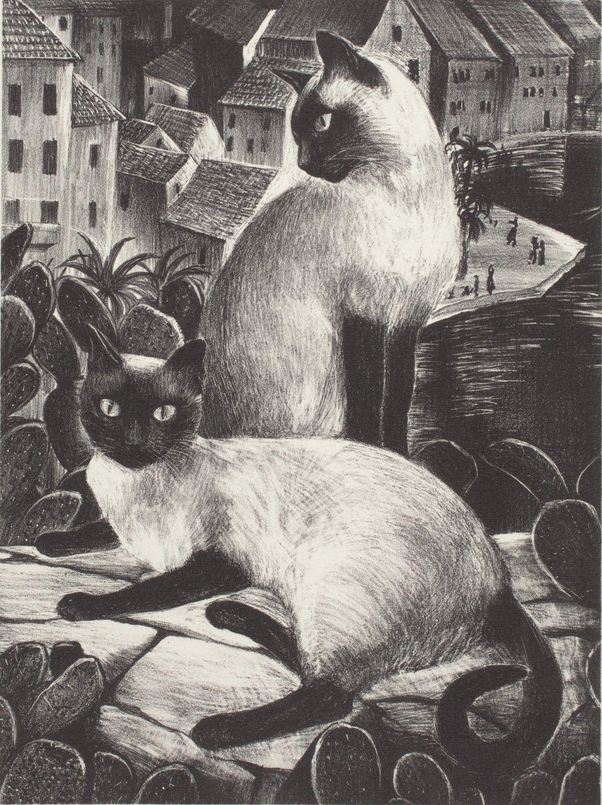 Agnes Tait (18941981) The Sailor's Cats Lithograph