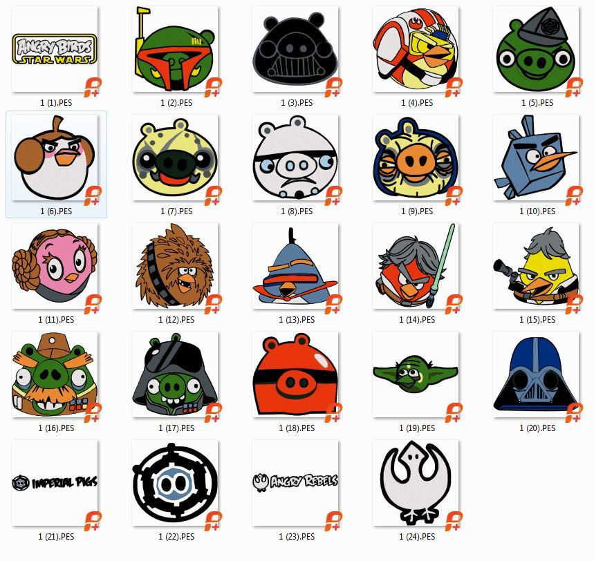 29 Angry Birds Star Wars Embroidery Designs Instant Download