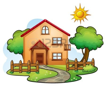 Illustration Of A House In A Beautiful Nature House Drawing For Kids Nature Drawing For Kids Simple House Drawing