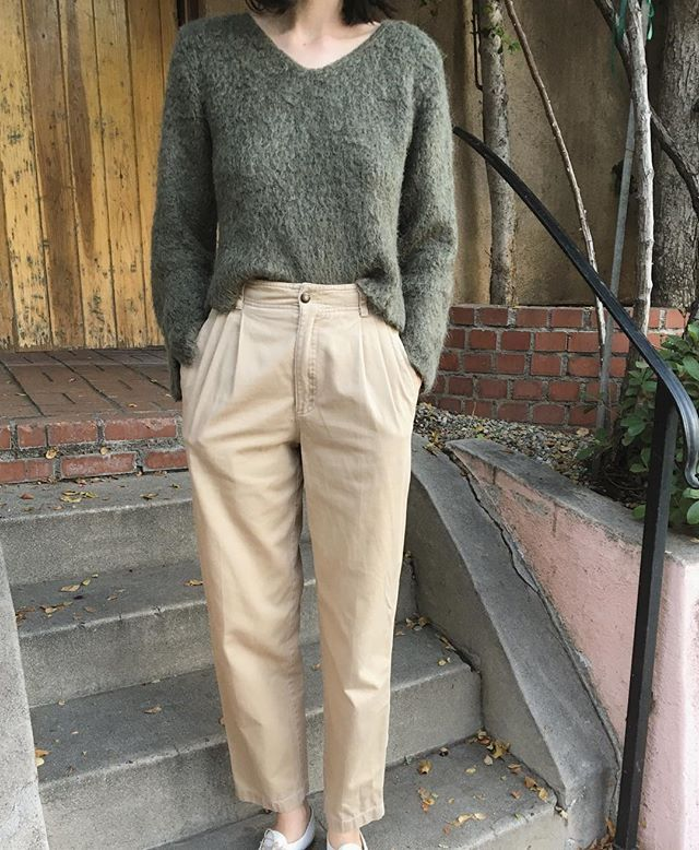 """WEBSTA @ courtyard_la - SOLD 🎉Adorable olive fuzzy wool mohair blend sweater and classic pleated khakis. Sweater will fit S-M and $42   shipping. Pleated khakis are waist 26"""" and $56   shipping. First to comment with postal code for invoice."""