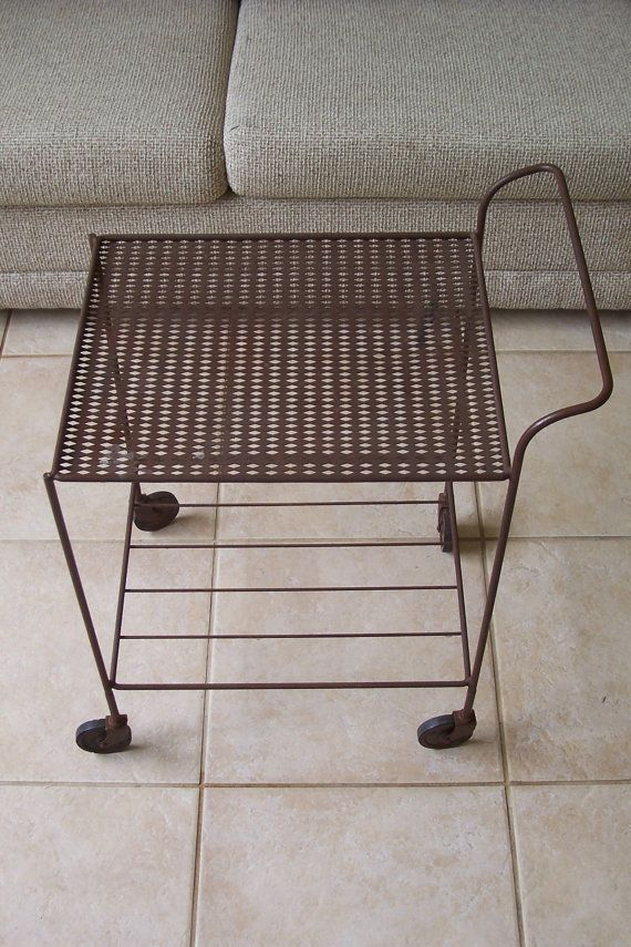 Vintage 1950 S Wrought Iron Serving Cart On Wheels Beverage Bar Trolly Etsy