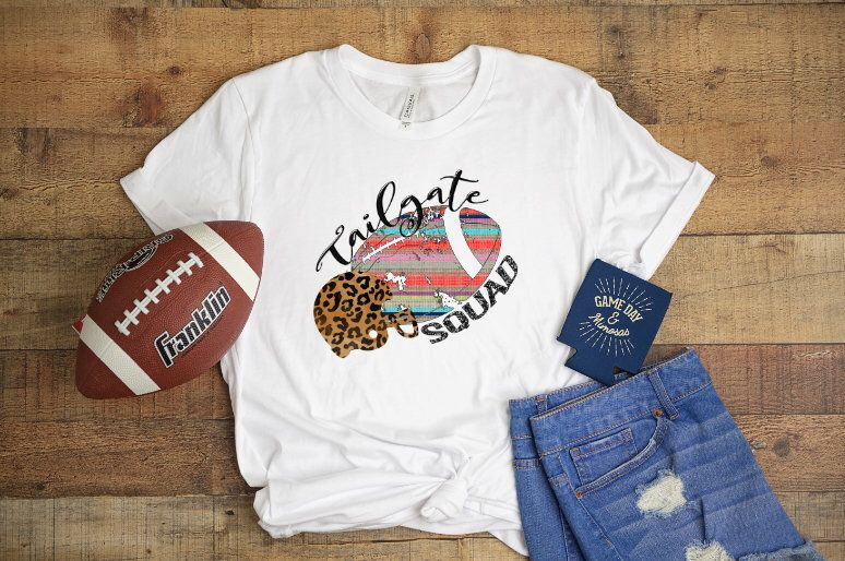 Tailgate Squad Football Watercolor T Shirt Shirt With Saying