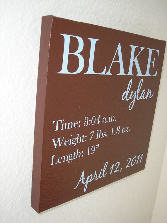 Custom personalized Canvas Painting Baby Boy Birth by nlcorder, $29.99