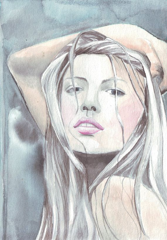 Fine Art Painting Woman Grey Hair Watercolor Painting Art