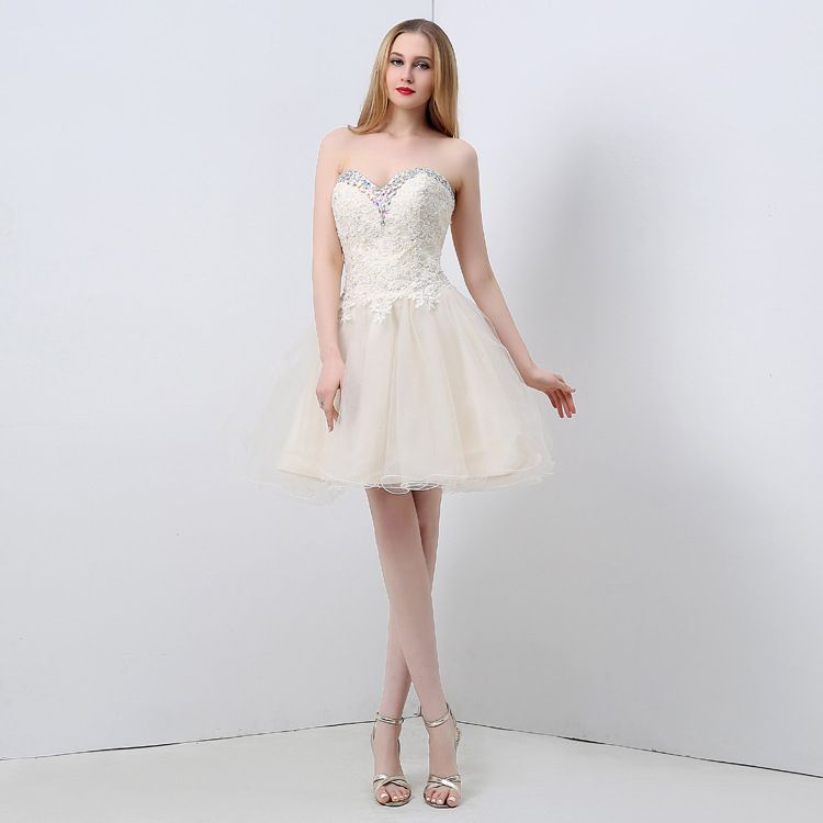 b81ddbaf299 free shipping New high-end women s wholesale sexy Strapless backless  sequined lace tutu Homecoming Dresses01