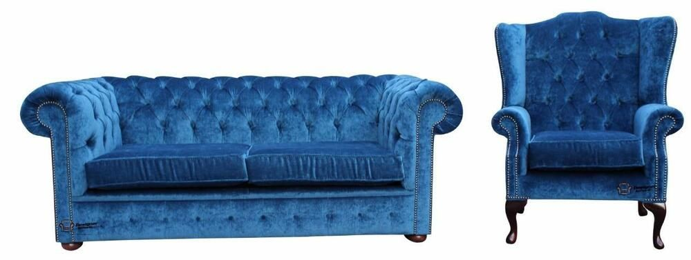 Best Details About Chesterfield 2 Seater Wing Chair Velluto 640 x 480