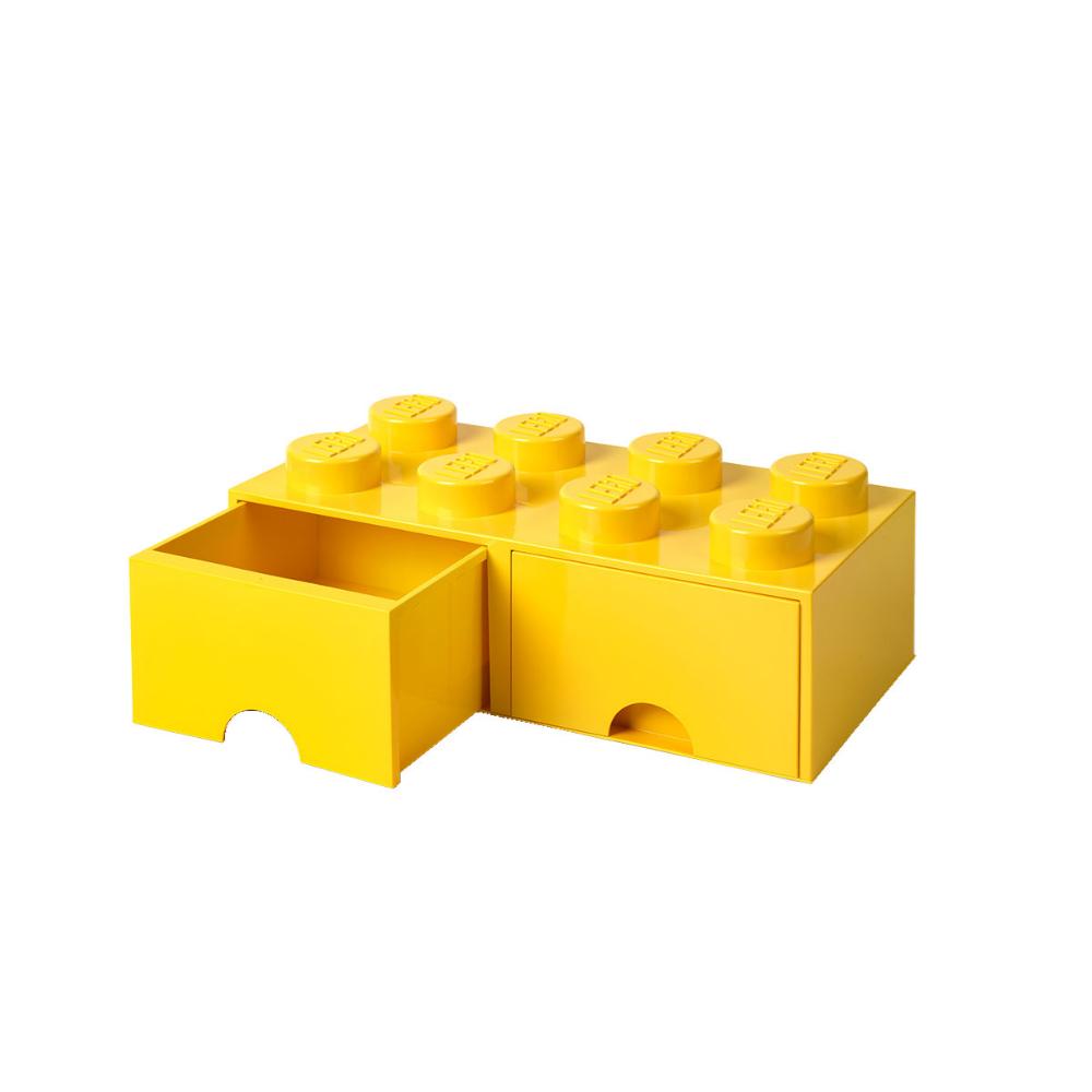 Brique de rangement jaune 8 plots avec ouverture tiroir Lego in 2020