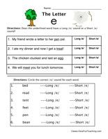 Amusing Long Vowel E Worksheets for First Grade with Long and ...