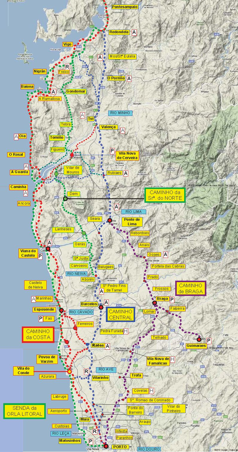 Camino Walk Spain Map.Great Camino Portugues Resource Downloadable Maps And Info El