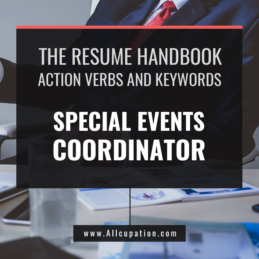 The Curriculum Vitae Handbook The Resume Handbook Special Events Coordinator Resume Samples
