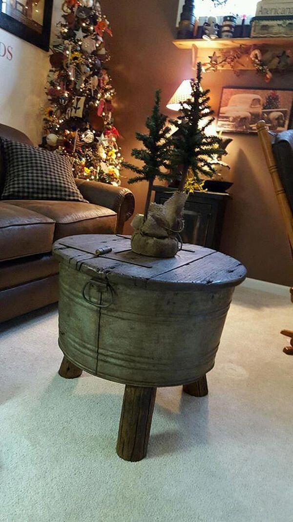 Bucket With Feet Makes Unique Table Base Rusticfurniture Rough