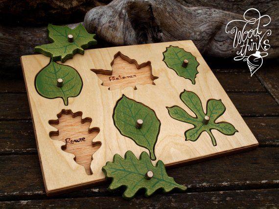 Jouets en bois / feuille en bois puzzle / jouets Waldorf / Montessori jouets pédagogique Toys / lapprentissage des jouets / jouet Ecologique / jouets tout-petits