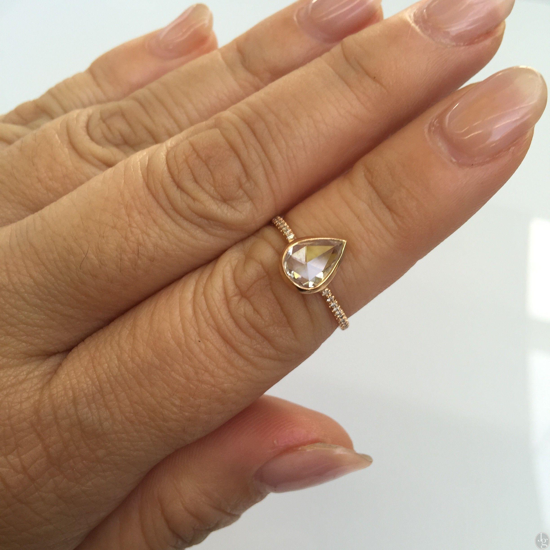 1 20ct Pear Shape Rose Cut Diamond Bezel Ring