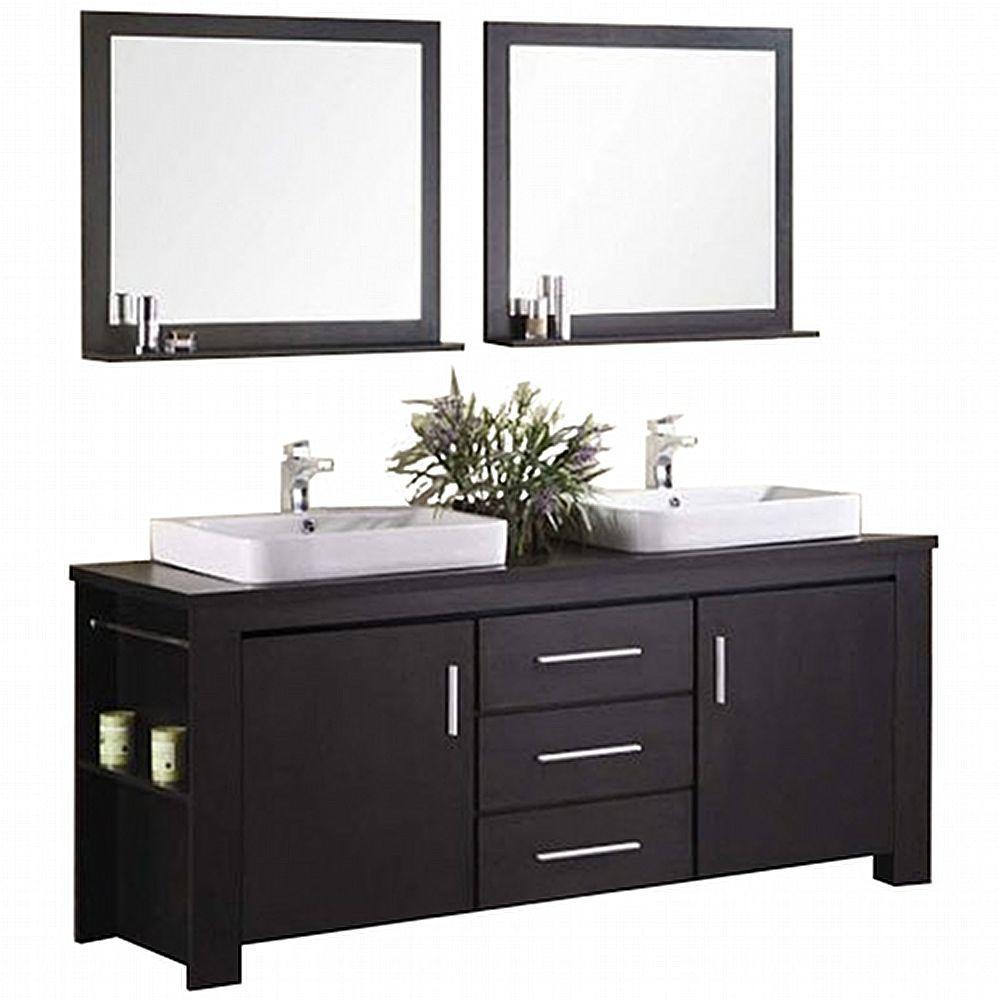 Design Element Washington 72 In W X 22 In D Vanity In Espresso With Wood Vanity Top And Mirror In Espresso Dec083d The Home Depot Bathroom Vanity Bathroom Sink Vanity Double Sink Vanity [ 1000 x 1000 Pixel ]