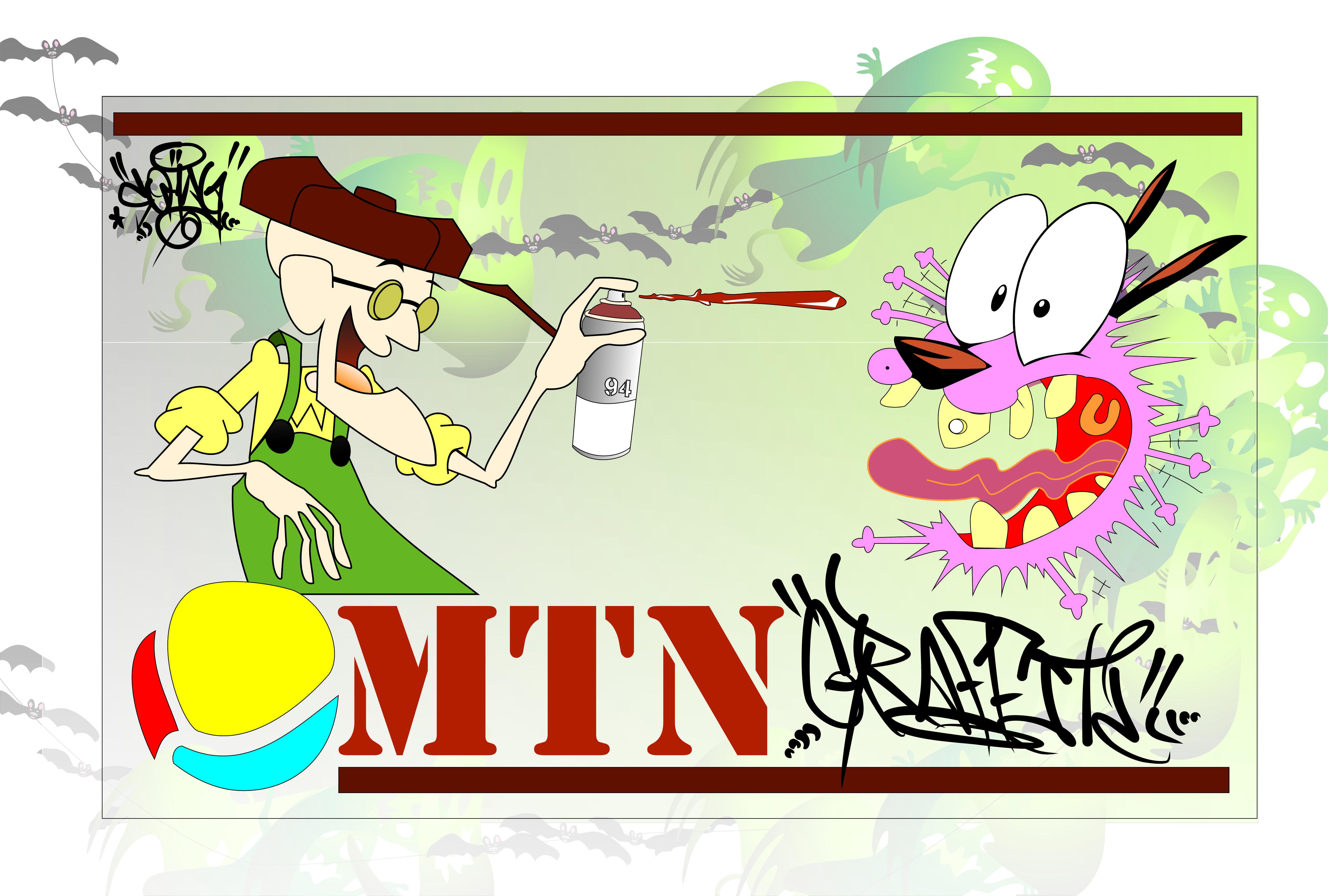 trabajo explorar herramienta de vector en corel.  coraje el perro cobarde graffitero con montana 94! SOMAG