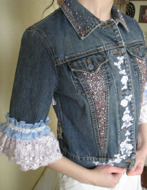 Denim Jacket Upcycled With Lace Trim And Beading By