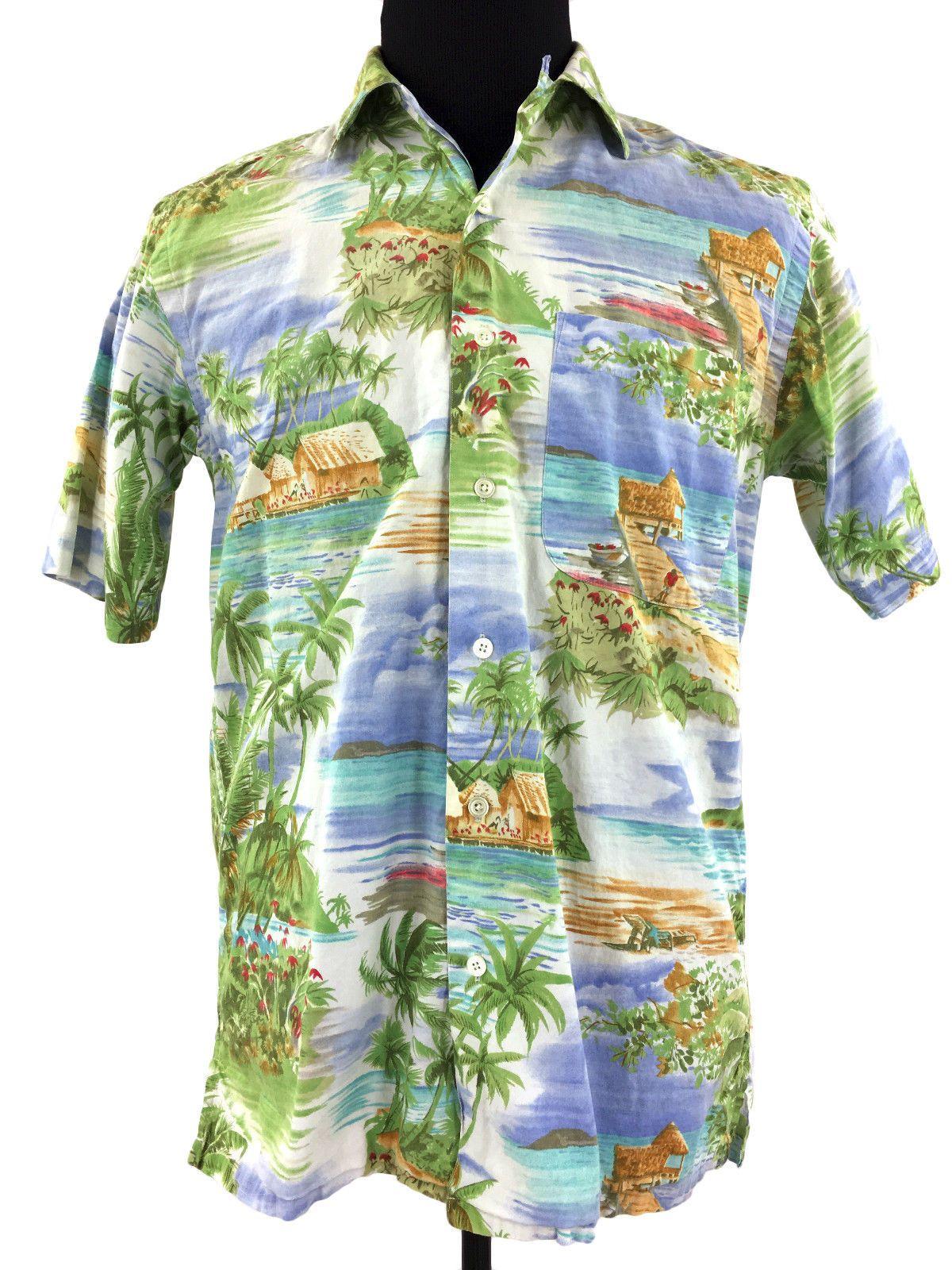 Nautica Mens Short Sleeve Palm Beach Hawaiian Caribbean Dress Shirt