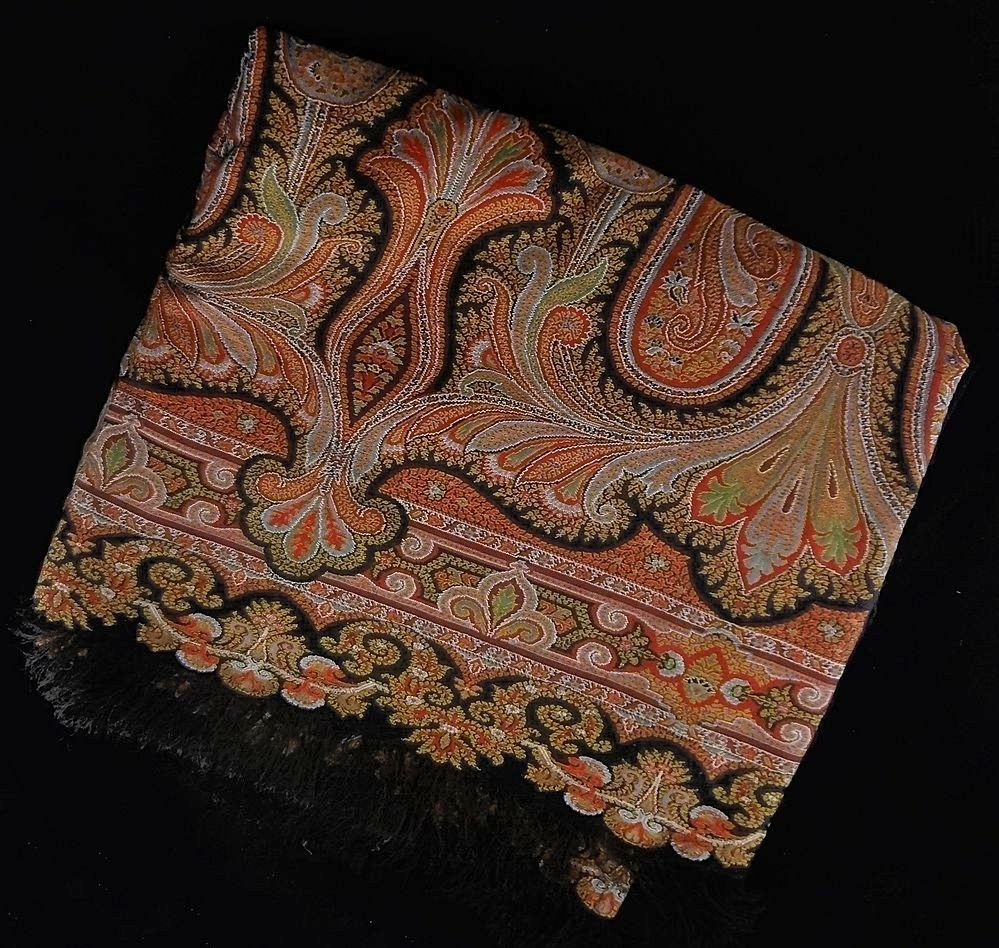 Long Antique Paisley Shawl With Black