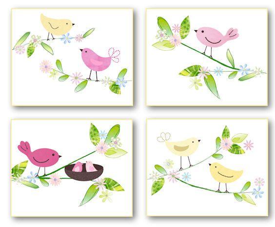 Penelope Birdies Nursery Bedding Art Prints For Pottery
