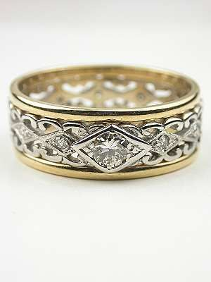 Vintage Two Toned Diamond Wedding Ring In This A Pierced Scroll Motif White Gold Is Splashed With Diamonds And Accented By