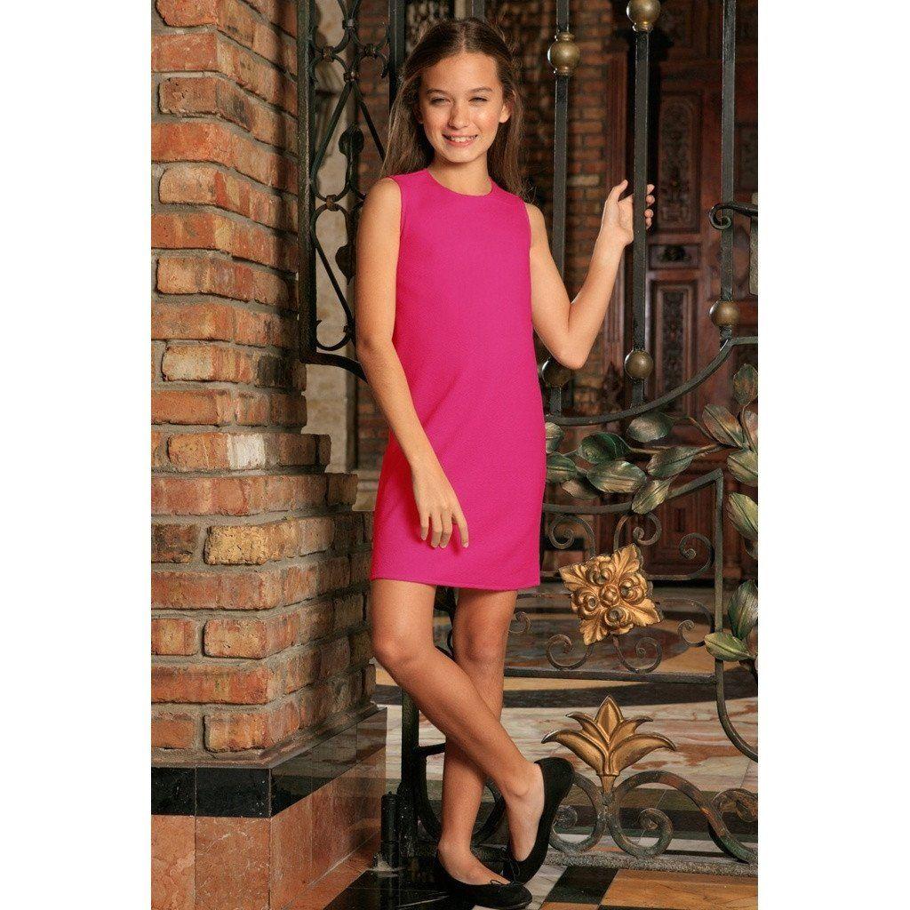 335d468098 Fuchsia Hot Pink Stretchy Sleeveless Cute Summer Shift Dress - Girls ...