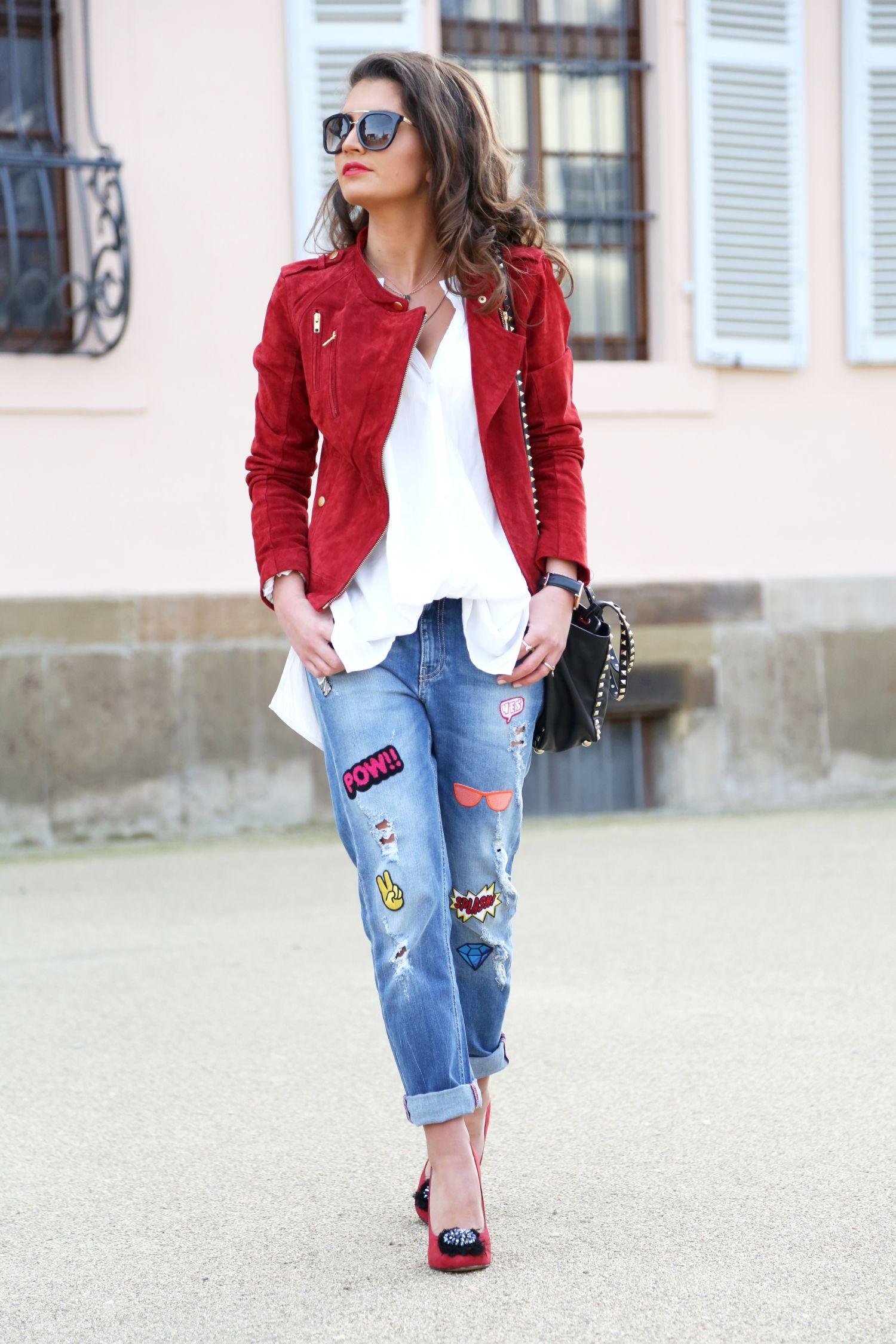 rock that sticker jeans fashionhippieloves kombination rot und jeans bluse. Black Bedroom Furniture Sets. Home Design Ideas