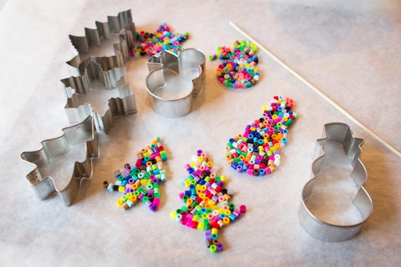 melt plastic beads in cookie cutterscute