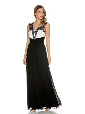 Black And Cream Chiffon Diamante Maxi Dress Quiz Clothing Party
