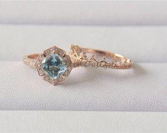 Floral Aquamarine Wedding Ring 14K Rose Gold by LynnLinDesign