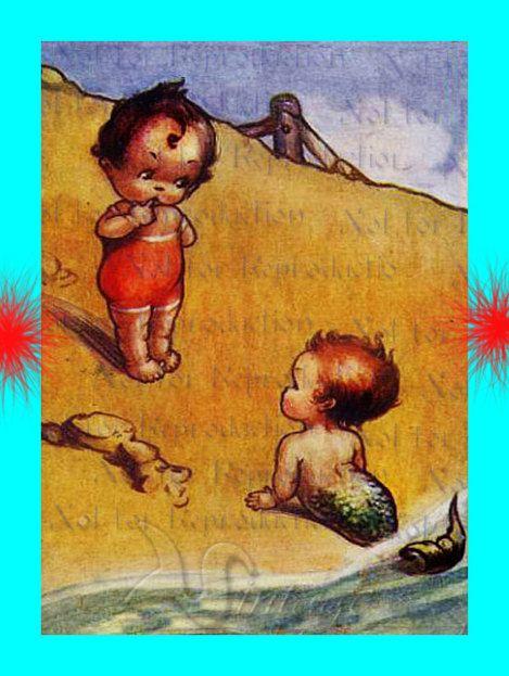 MERMAID FABRIC s550 VINTAGE MERMAIDS MERBABIES Postcard by wwwvintagemermaidcom, $7.00