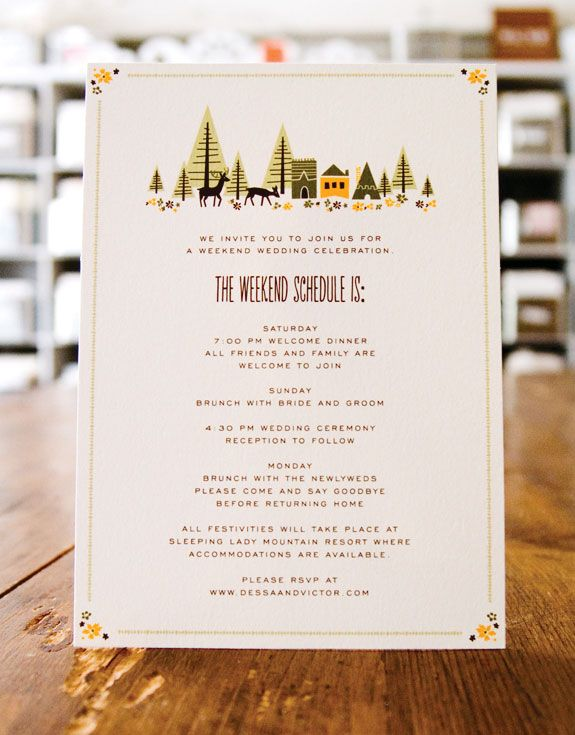 Wedding Stationery Inspiration Day-of Itineraries Wedding - wedding weekend itinerary template