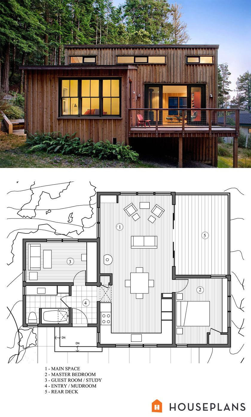 Modern Style House Plans - 2 Beds 1 Baths 840 Sq Ft Plan