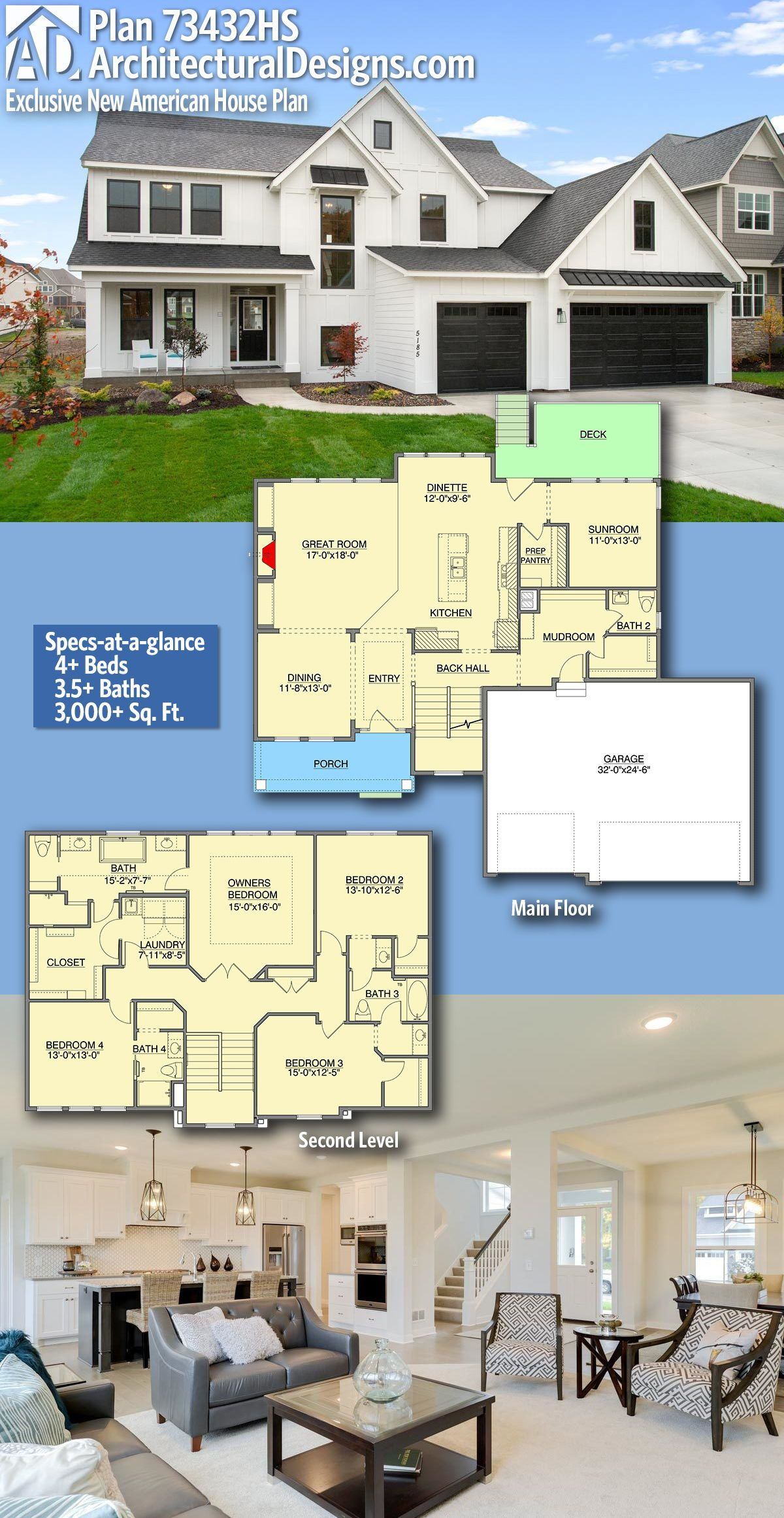Architectural Designs New American Home Plan 73432hs Gives You 4 Bedrooms 3 5 Baths And 3 Architectural Design House Plans American Houses Dream House Plans